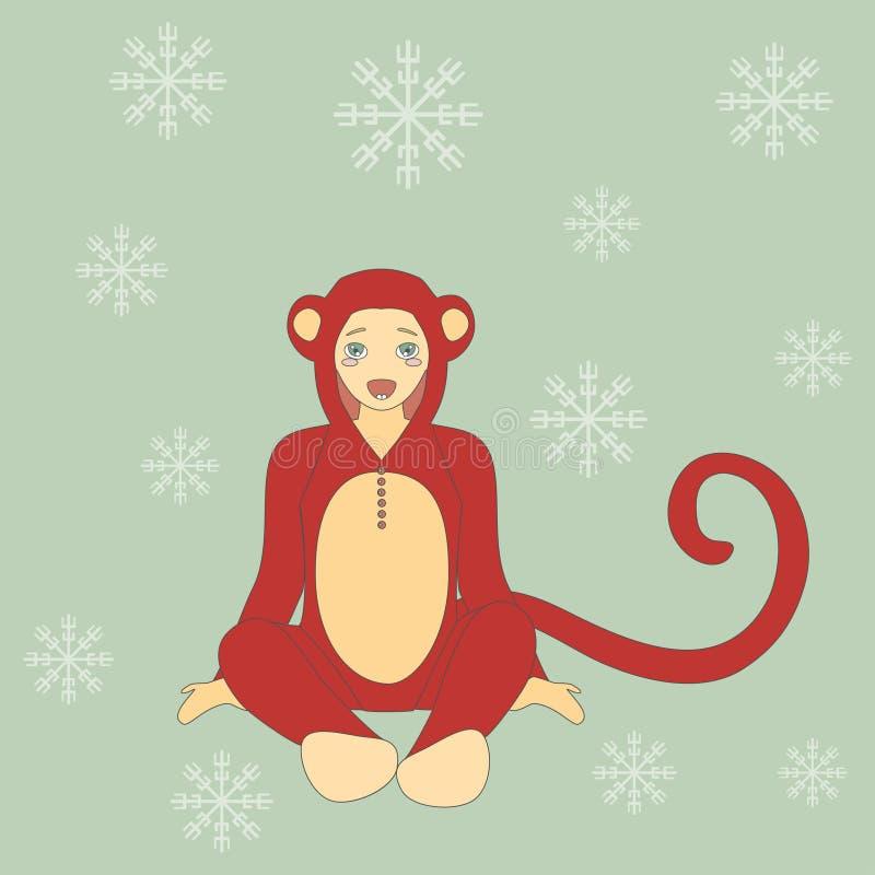 Netter kleiner Junge in der Klage eines Affen stock abbildung