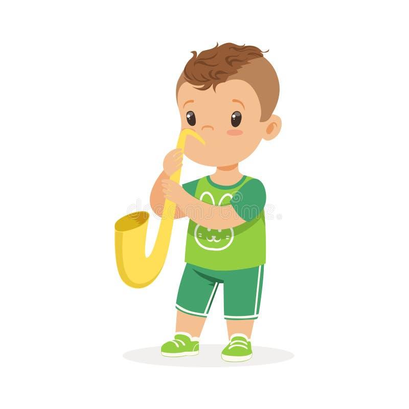 Netter kleiner Junge, der Trompete, jungen Musiker mit Musikinstrument des Spielzeugs, Musikunterricht für Kinderkarikaturvektor  lizenzfreie abbildung