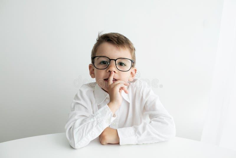 Netter kleiner Junge unter Verwendung des Laptops beim Handeln von Hausarbeit gegen wei?en Hintergrund lizenzfreie stockbilder