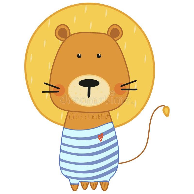 Netter kleiner Löwe in der Karikaturart auf weißem Hintergrund Die Seele des Kindes Auch im corel abgehobenen Betrag vektor abbildung