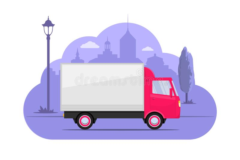 Netter kleiner LKW auf Stadtschattenbildhintergrund Rosa Lastwagen auf purpurrotem einfarbigem Hintergrund LKW-Konzeptillustratio stock abbildung