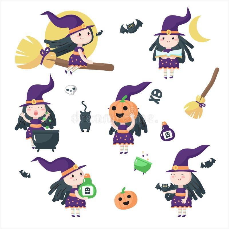 Netter kleiner lokalisierte Illustration Halloween-Hexen Vektor vektor abbildung