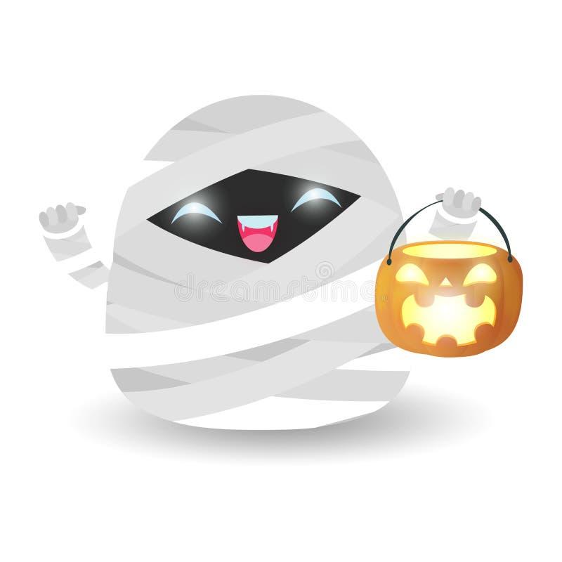 Netter kleiner netter kleiner Mamaholdingkürbis lokalisiert auf weißem Hintergrund Halloween-Kinder kostümieren Partei-Vektorillu stock abbildung