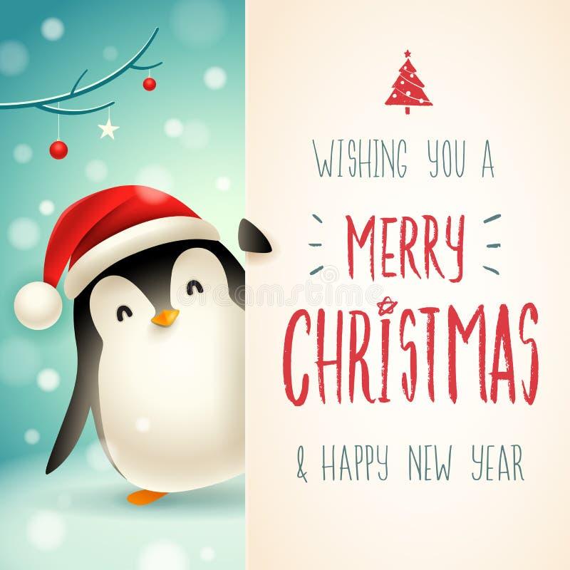 Netter kleiner Pinguin mit großem Schild Kalligraphie-Briefgestaltung der frohen Weihnachten lizenzfreie abbildung