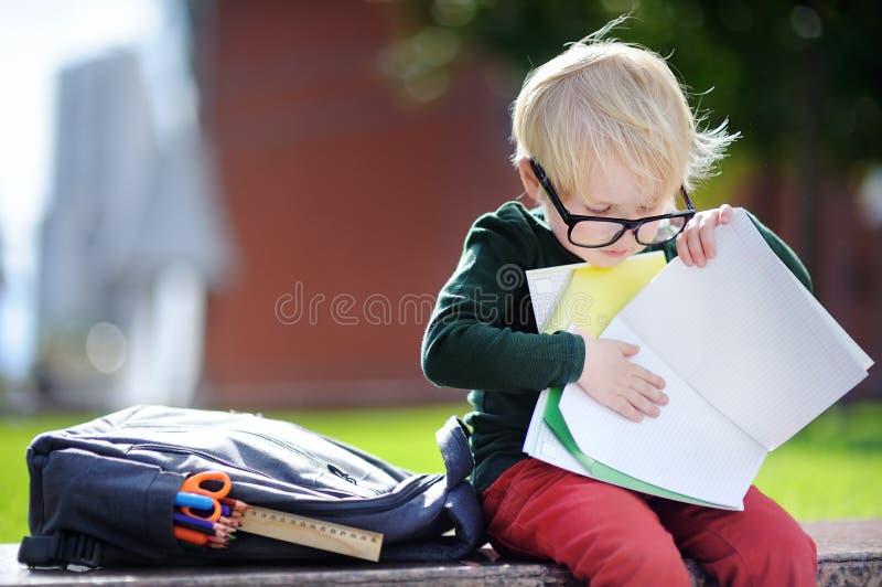 Netter kleiner Schüler, der draußen am sonnigen Tag studiert Zurück zu Schule-Konzept lizenzfreie stockbilder