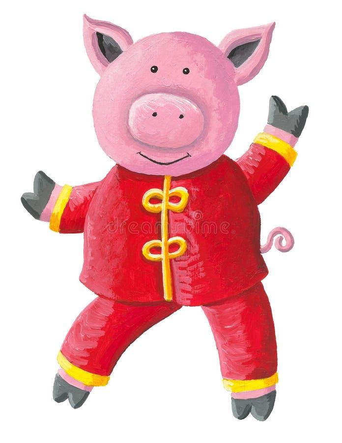 Netter kleiner Schweincharakterentwurf mit traditioneller chinesischer Kleidung Chinesisches neues Jahr 2019 vektor abbildung