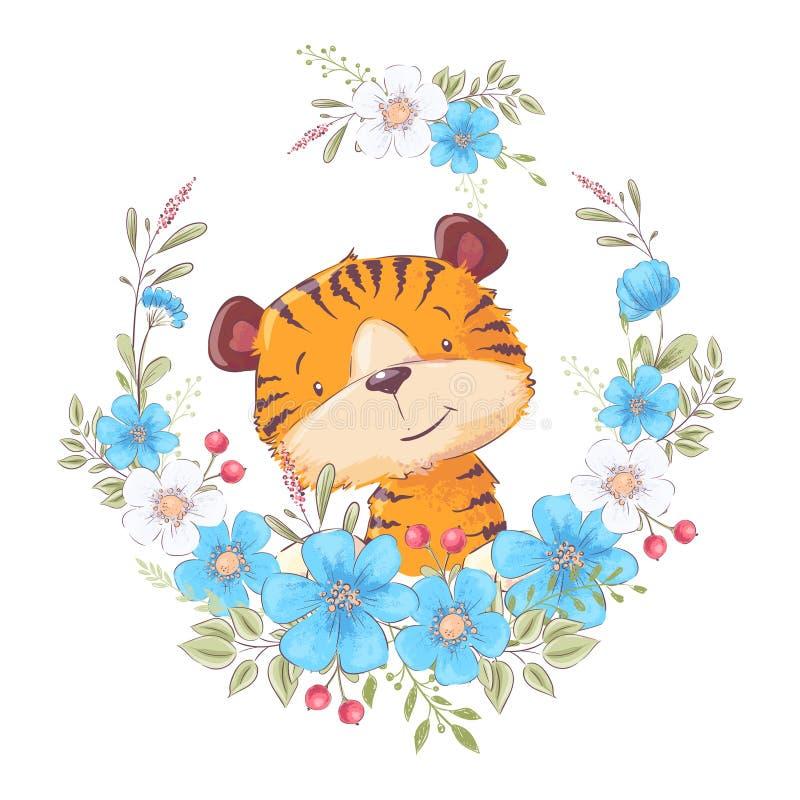 Netter kleiner Tiger des Postkartenplakats in einem Kranz von Blumen Eine junge Frau in ihrer Unterw?sche Vektor stock abbildung