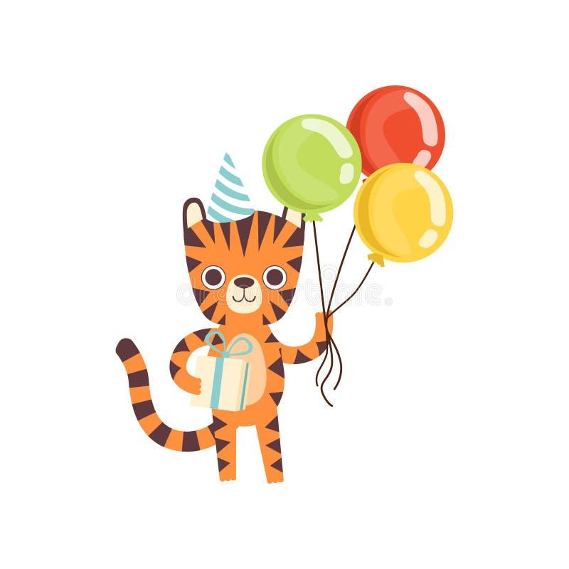 Netter kleiner Tiger im Partei-Hut, der mit bunten Ballonen und Geschenkbox, entzückende wilde Tierzeichentrickfilm-figur steht vektor abbildung