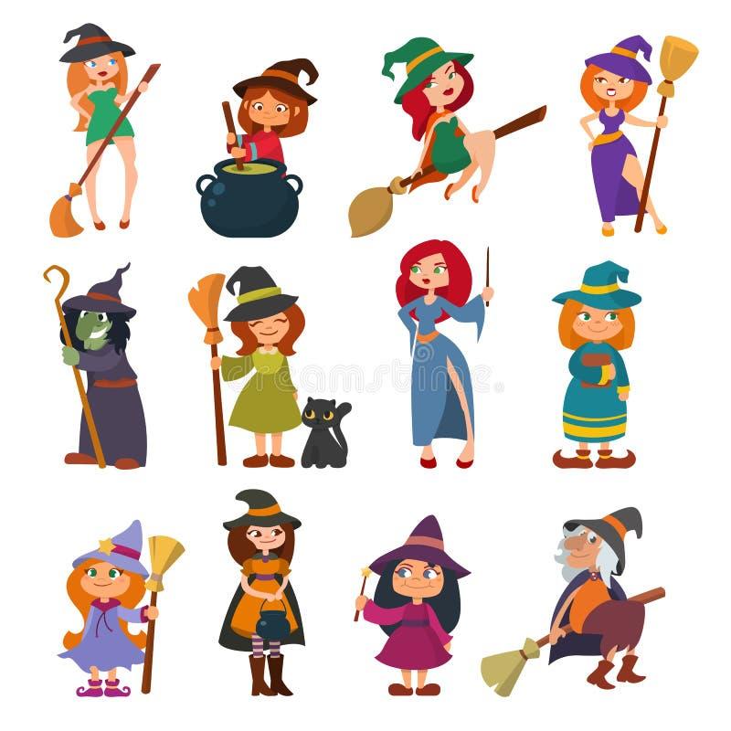 Netter kleiner Vixen des Hexenhexen-alten Vettels mit Besenkarikatur magischem Charakterkostüm-Hutvektor junger Mädchen Halloween lizenzfreie abbildung