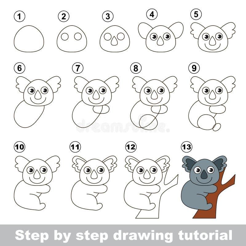 Netter Koala Zeichnendes Tutorium vektor abbildung