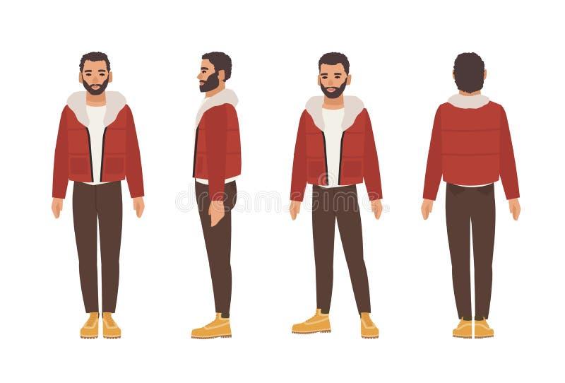 Netter lächelnder dunkelhaariger kaukasischer Mann mit Bart kleidete in der braunen Hose und in der roten Jacke an Flache männlic lizenzfreie abbildung