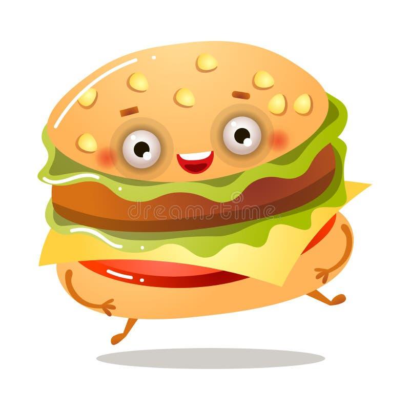 Netter lächelnder frischer amerikanischer Burger läuft weg stock abbildung