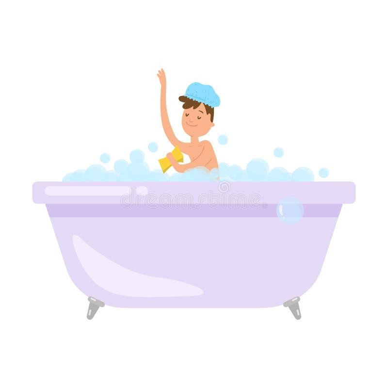 Netter lächelnder Junge ein Bad mit gelbem Schwamm nehmen lizenzfreie abbildung