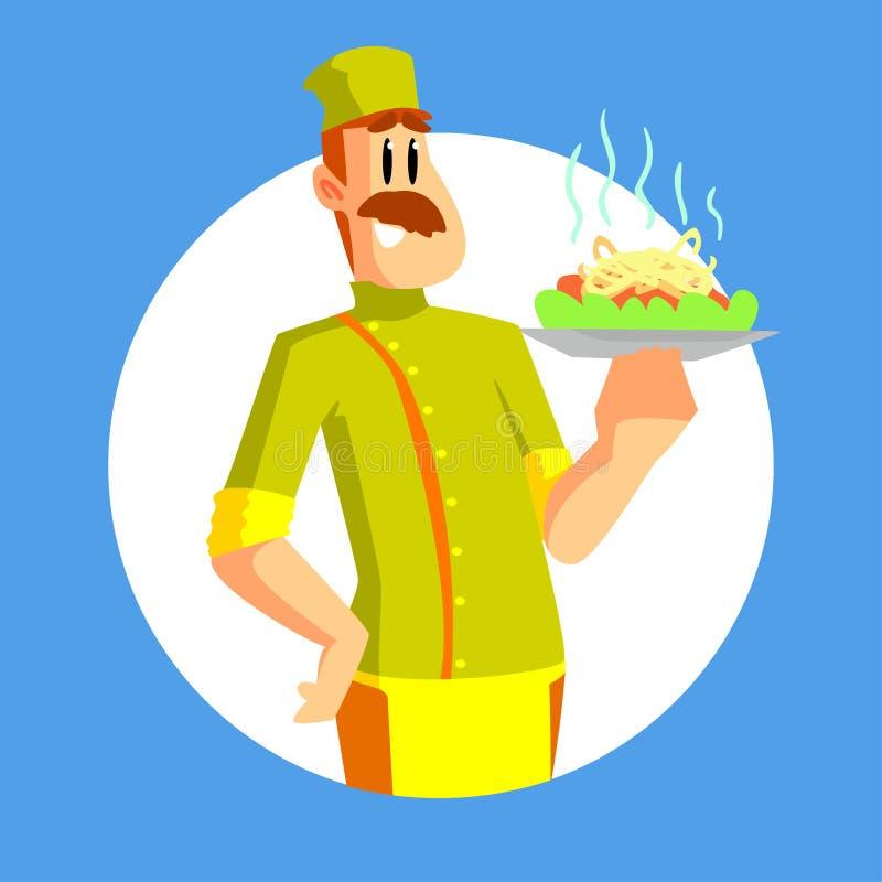 Netter lächelnder Koch Character mit Behälter der köstlichen Nahrungsmittelvektor-Illustration lizenzfreie abbildung