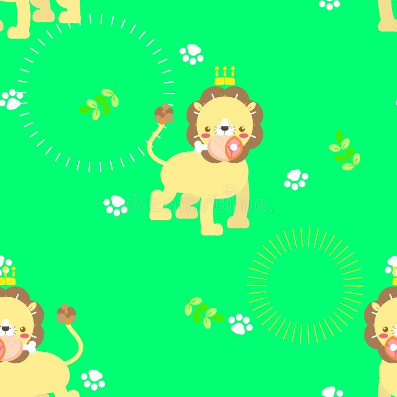 Netter Löwe der nahtlosen Tierwild lebenden tiere mit Fußdrucktatzen- und -blattwiederholungsmuster im grünen Hintergrund stock abbildung