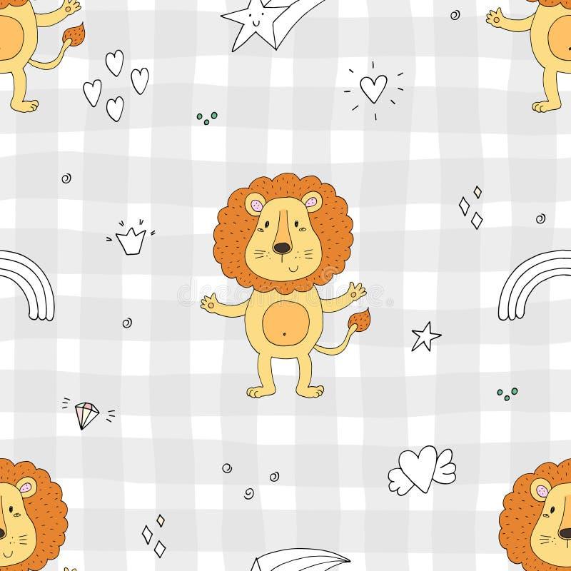 Netter Löwe Musterdruck für Kinder stock abbildung
