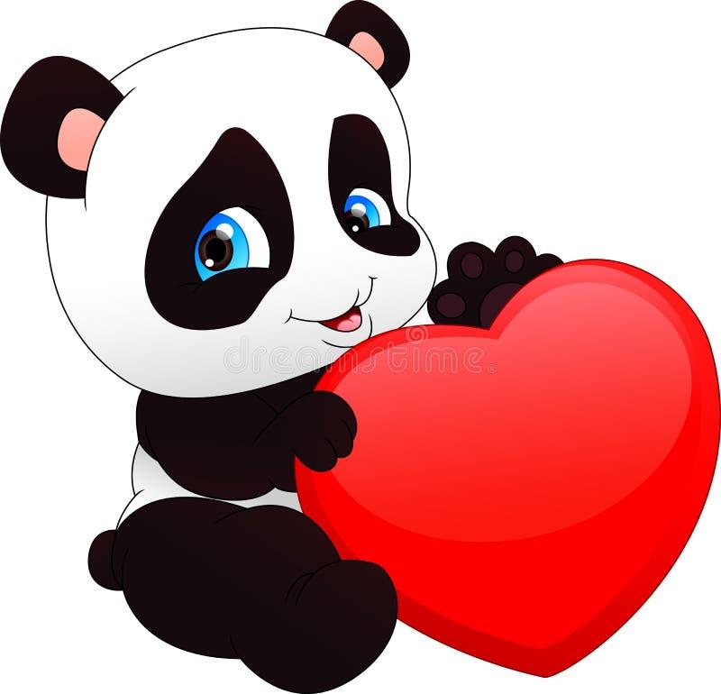 Netter lustiger Babypanda und rotes Herz stock abbildung