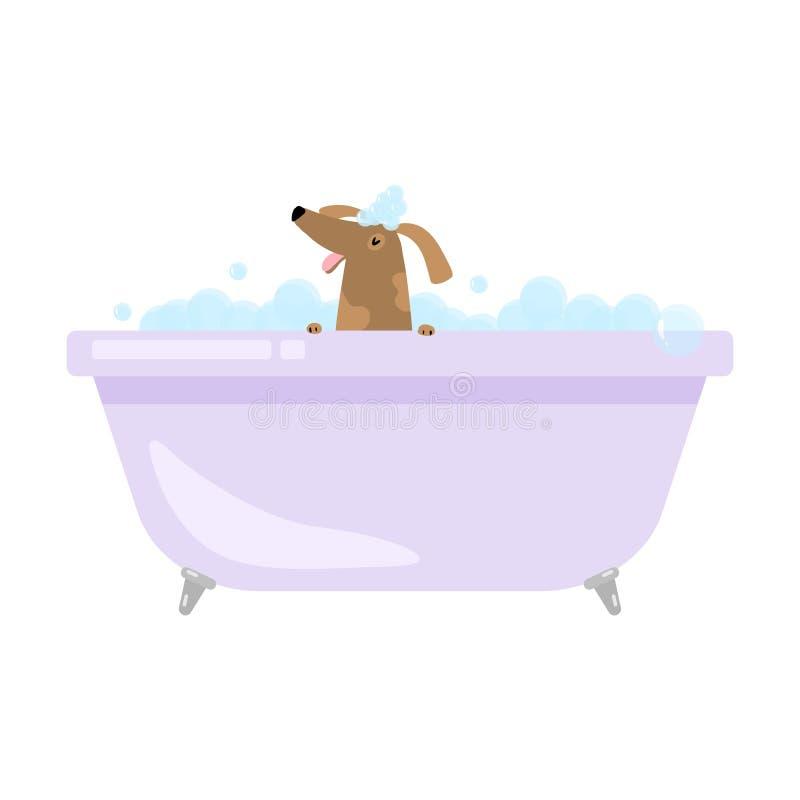 Netter lustiger Haupthund nimmt Bad in der Badewanne lizenzfreie abbildung