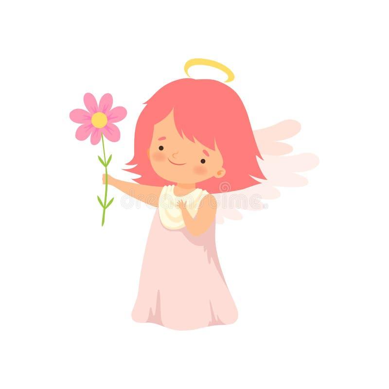 Netter Mädchen-Engel mit Nimbus und Flügeln, die mit Blumen, reizender Baby-Zeichentrickfilm-Figur im Amor oder Engel-Kostüm steh vektor abbildung