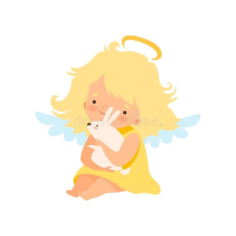 Netter Mädchen-Engel mit Nimbus und Flügeln, die weißes Kaninchen, reizende Baby-Zeichentrickfilm-Figur im Amor oder Engel-Kostüm lizenzfreie abbildung