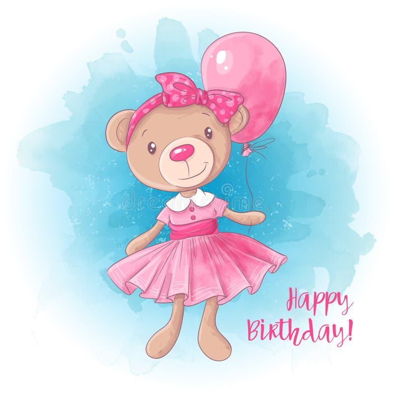 Netter Mädchenbär der Karikatur mit einem Ballon Kaninchen mit einem Geschenk Auch im corel abgehobenen Betrag vektor abbildung
