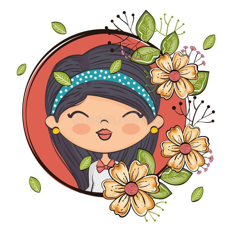 Netter Mädchencharakter mit Blumenrahmen lizenzfreie abbildung