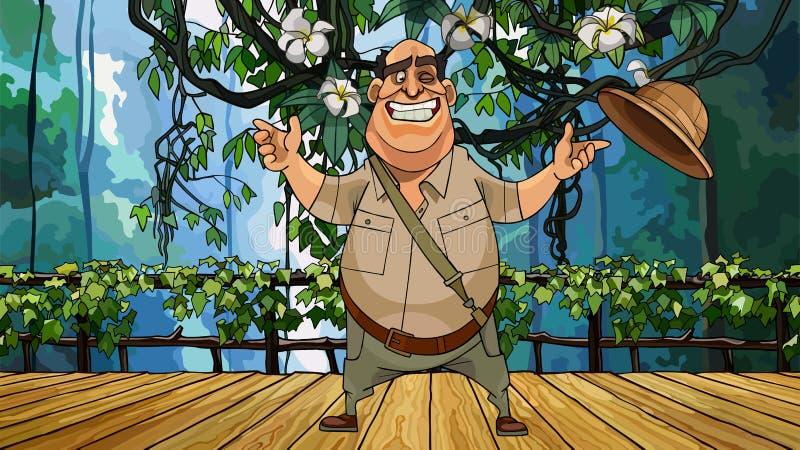 Netter männlicher Reisender der Karikatur steht auf einer Holzbrücke im Dschungel stock abbildung