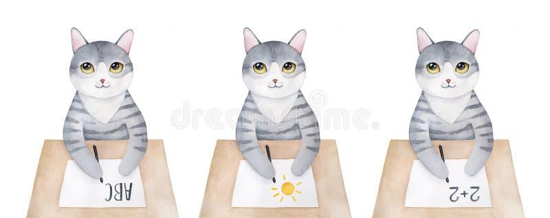 Netter Miezekatzecharakter sitzend am hölzernen Schreibtisch und verschieden die meisten allgemeinen pädagogischen Themen vektor abbildung
