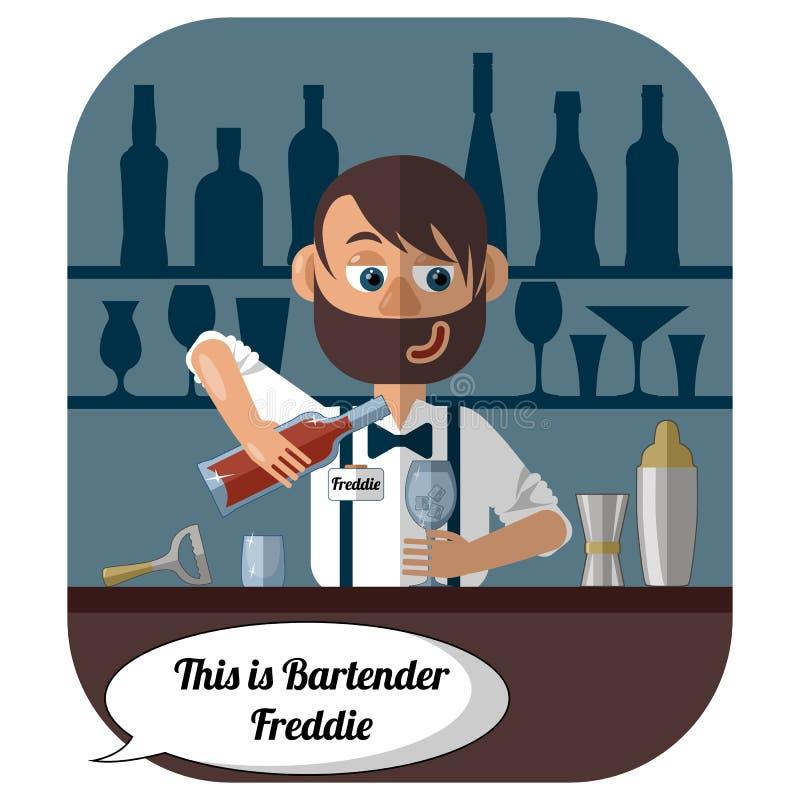 Netter moderner Kellner an der Bar macht ein Cocktail vektor abbildung