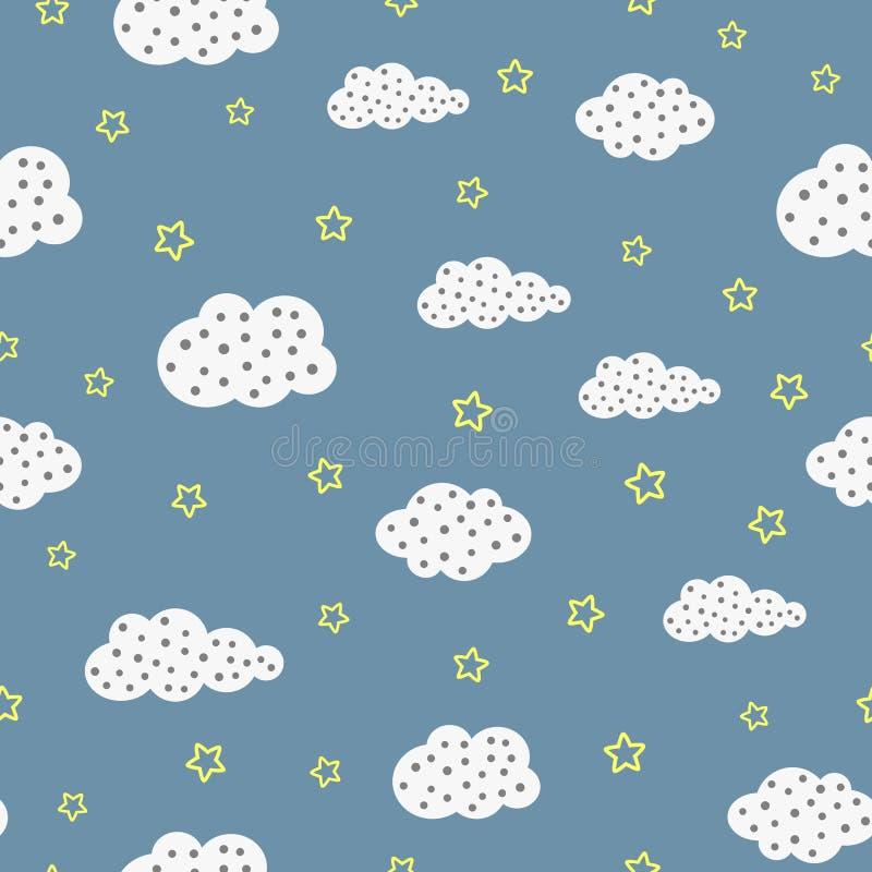 Netter nächtlicher Himmel Nahtloses Muster mit Wolken und Sternen lizenzfreie abbildung