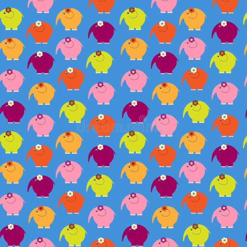 Netter nahtloser dekorativer Hintergrund mit Elefanten in Kinder vektor abbildung