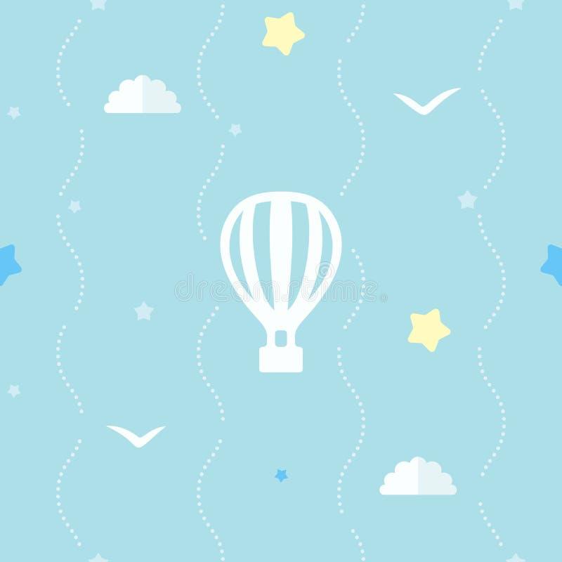 Netter nahtloser Hintergrund mit Heißluftballon, Sternen, Wolken und Fliegenvögeln Blaues Muster mit punktierten Streifen lizenzfreie abbildung