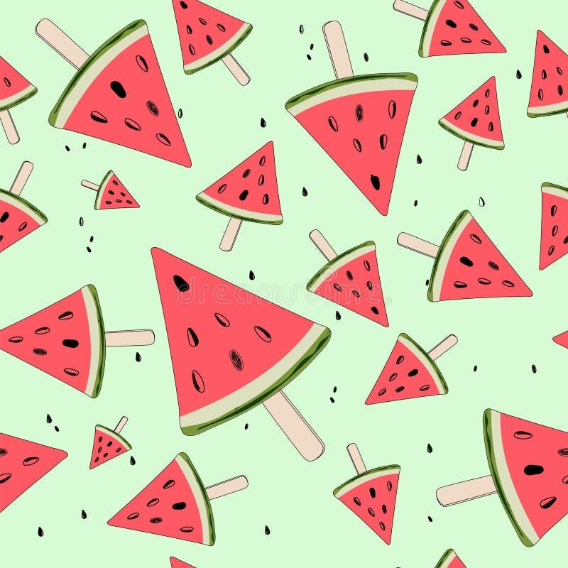Netter nahtloser Hintergrund mit Wassermelonenscheiben Wassermelone auf einem Stock Junge Erwachsene Vektor lizenzfreie abbildung