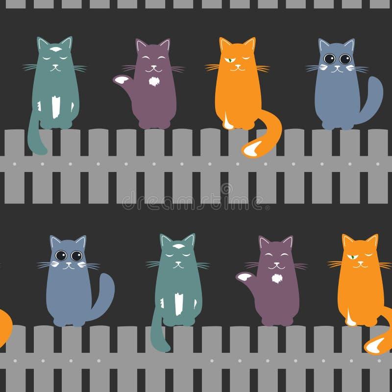 Netter nahtloser Musterhintergrund mit den Katzen, die auf dem Zaun setzen Auch im corel abgehobenen Betrag stock abbildung