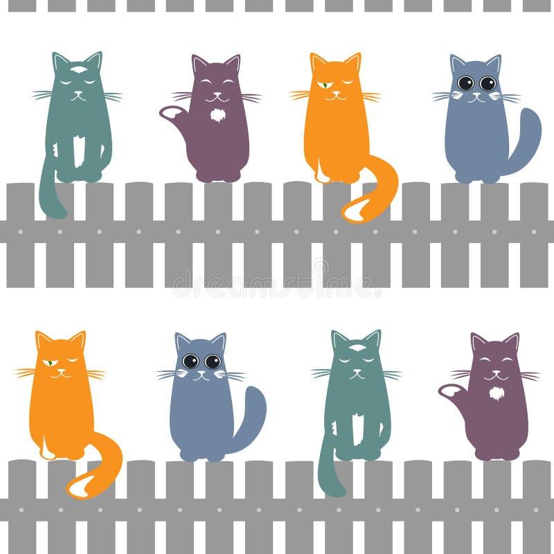 Netter nahtloser Musterhintergrund mit den Katzen, die auf dem Zaun setzen Auch im corel abgehobenen Betrag lizenzfreie abbildung