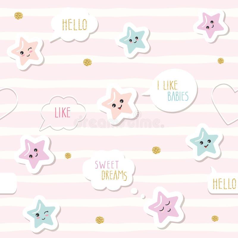 Netter nahtloser Musterhintergrund mit Karikatur kawaii spielt und Spracheblasen die Hauptrolle Für Babykleidung der kleinen Mädc stock abbildung