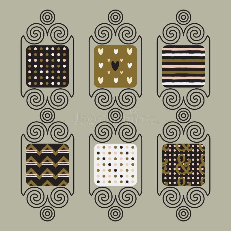 Netter nahtloser Mustersatz in den Entwurfsspiralenfahnen stock abbildung