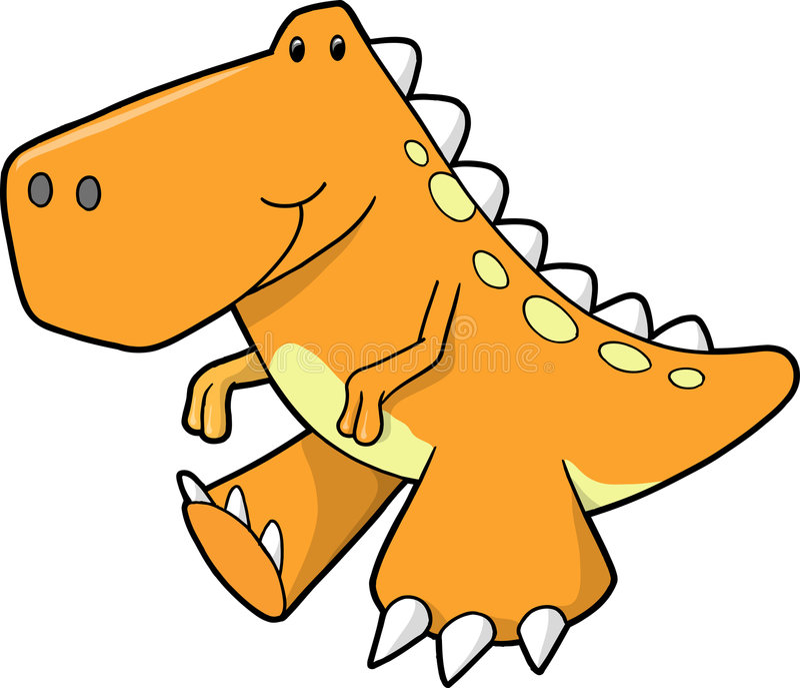 Netter orange Dinosaurier-Vektor lizenzfreie abbildung