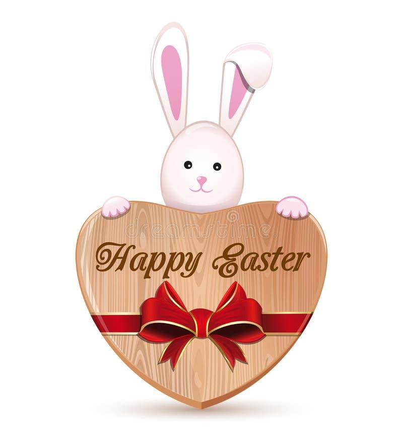 Netter Osterhase, der ein hölzernes Herz mit einer Aufschrift - fröhliche Ostern hält vektor abbildung
