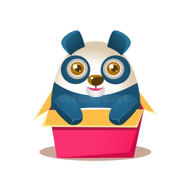 Netter Panda Activity Illustration With Humanized-Karikatur-Bärn-Charakter, der im Karton-Kasten sich versteckt stock abbildung