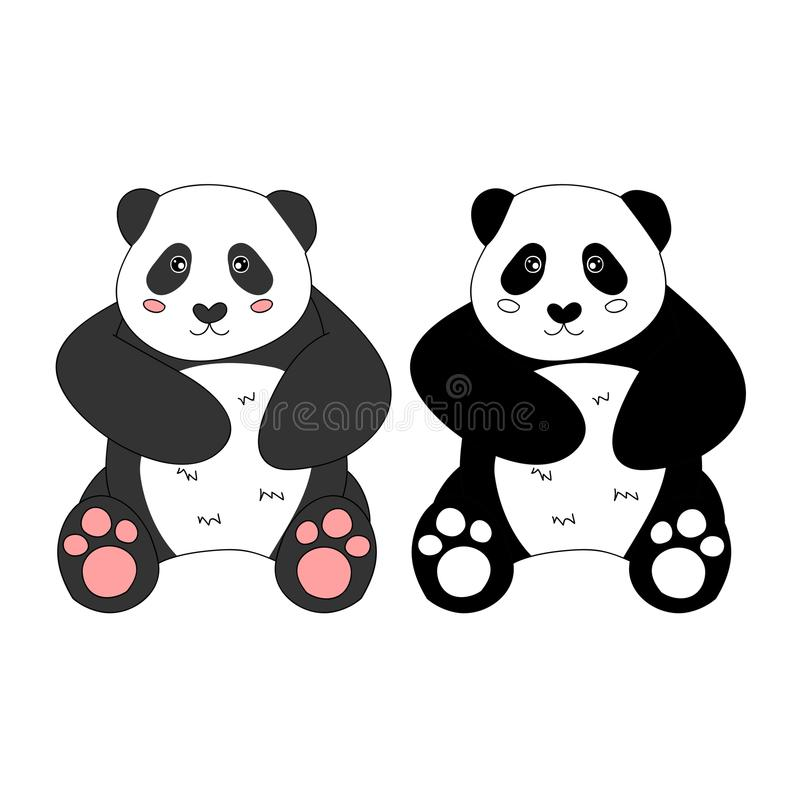 Netter Panda Auch im corel abgehobenen Betrag Getrennt auf weißem Hintergrund lizenzfreie abbildung