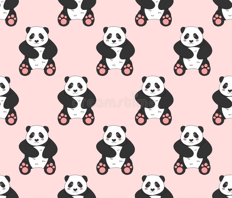 Netter Panda auf rosa Hintergrund Auch im corel abgehobenen Betrag lizenzfreie abbildung