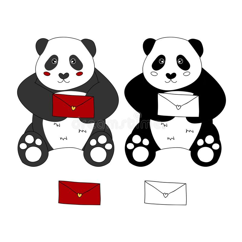 Netter Panda mit gedenkwürdigem Auch im corel abgehobenen Betrag Getrennt auf weißem Hintergrund stock abbildung