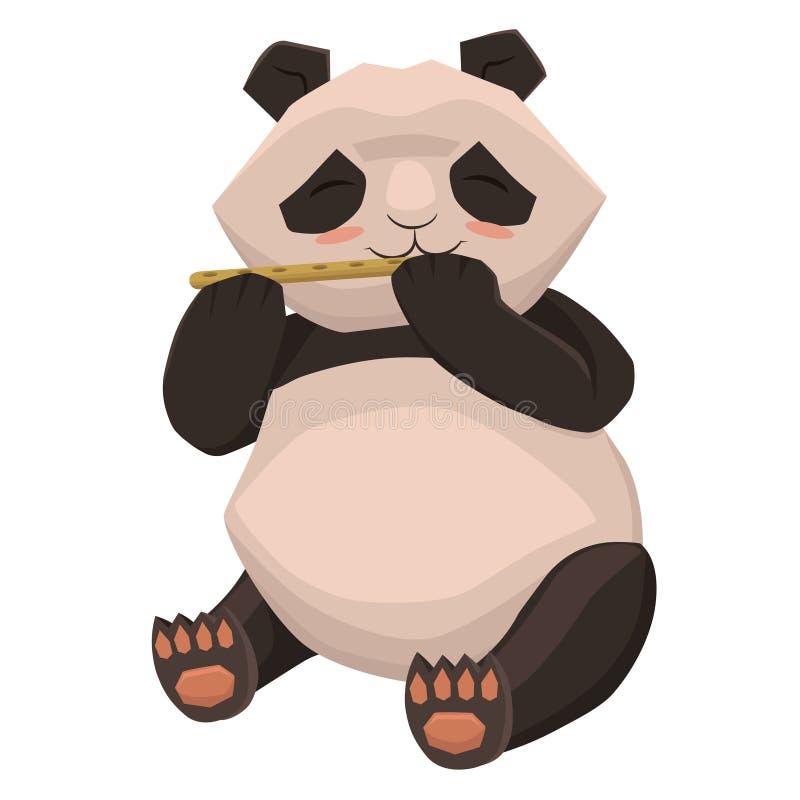 Netter Panda spielt die Flöte Getrennt auf wei?em Hintergrund Entwerfer Evgeniy Kotelevskiy stock abbildung