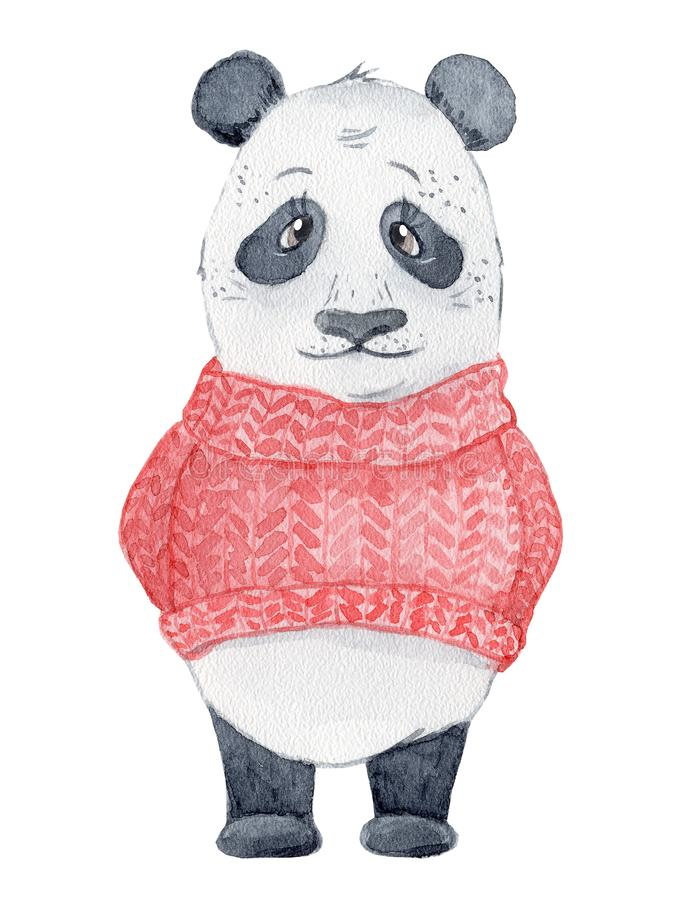 Netter Pandabär im roten Strickjackenkarikaturaquarell-Illustrationstier lizenzfreie stockfotos