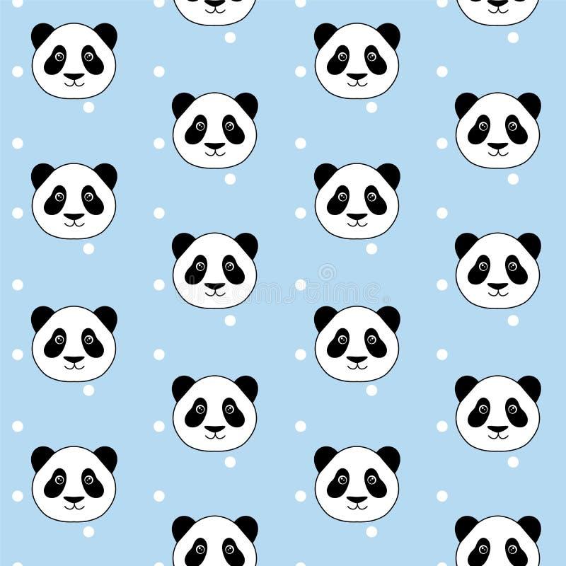 Netter Pandakopf auf Weiß punktiert nahtloses Muster V des blauen Hintergrundes lizenzfreie abbildung