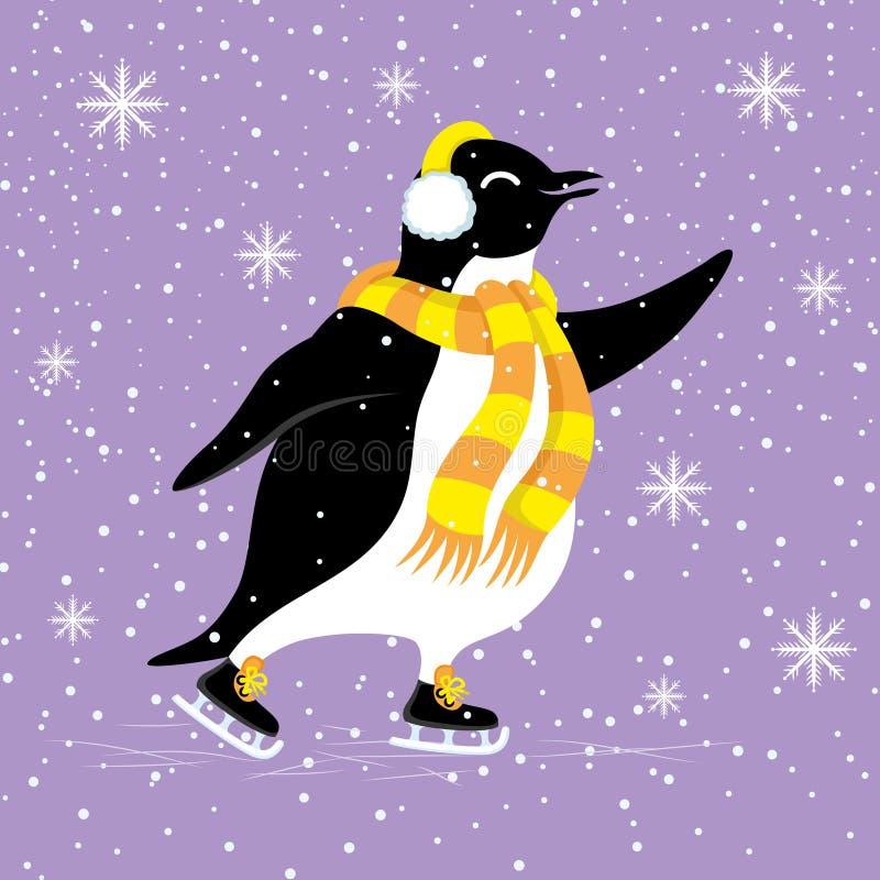 Netter Pinguin mit einem Schal lizenzfreie abbildung