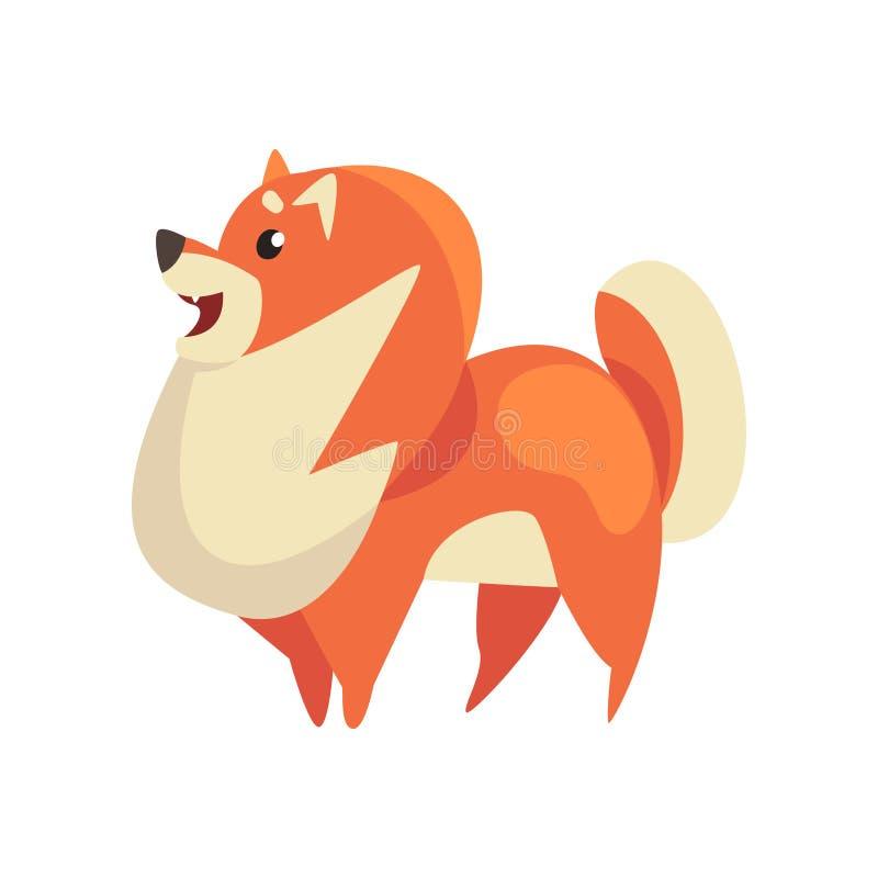 Netter Pomeranian-Spitz, lustiger reinrassiger Pom Pet Dog Cartoon Character, Seitenansicht-Vektor-Illustration vektor abbildung