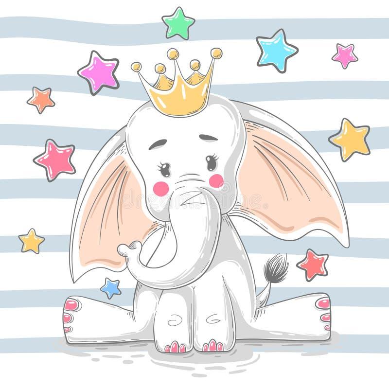 Netter Prinzessinelefant - Zeichentrickfilm-Figuren lizenzfreie abbildung
