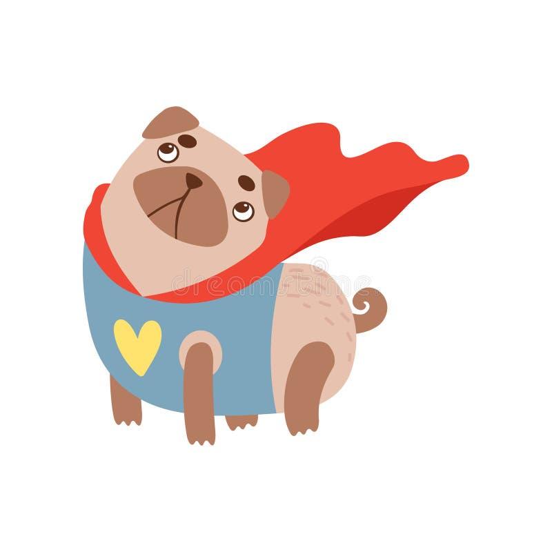 Netter Pug-Hund im Superheld-Kostüm, lustige freundliche Tierhaustier-Charakter-Vektor-Illustration lizenzfreie abbildung